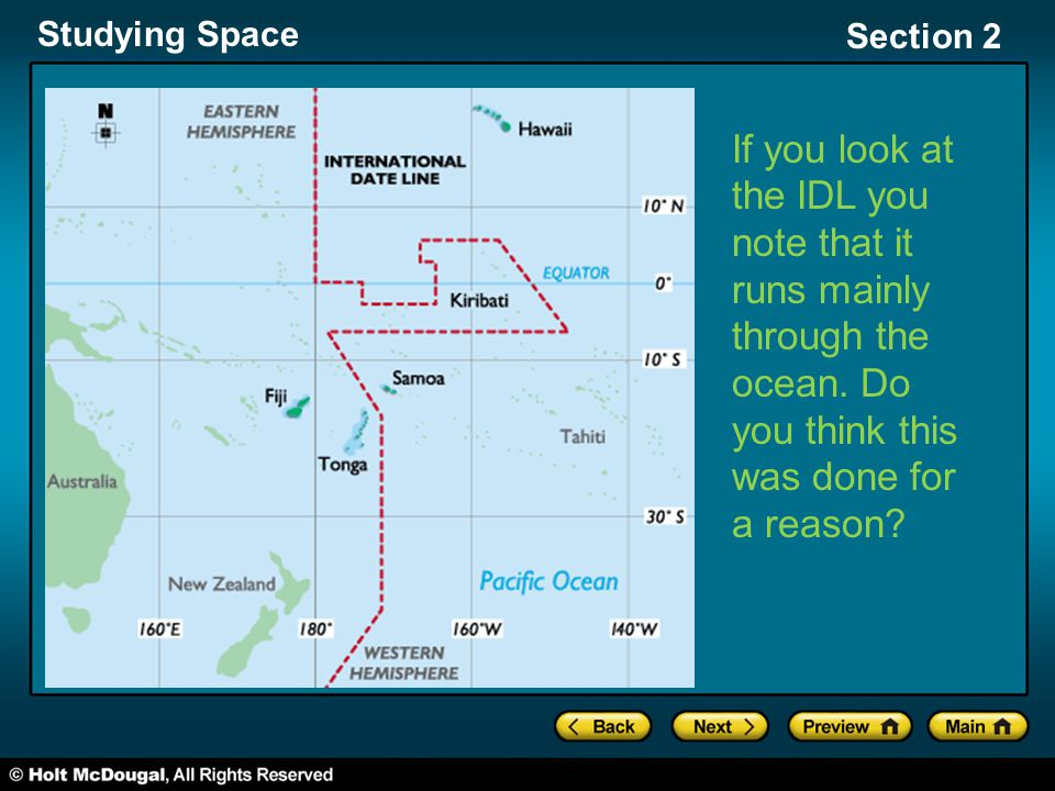 Studying Space Section 2 If you look at the IDL you note that it runs mainly through the ocean. Do you think this was done for a reason?