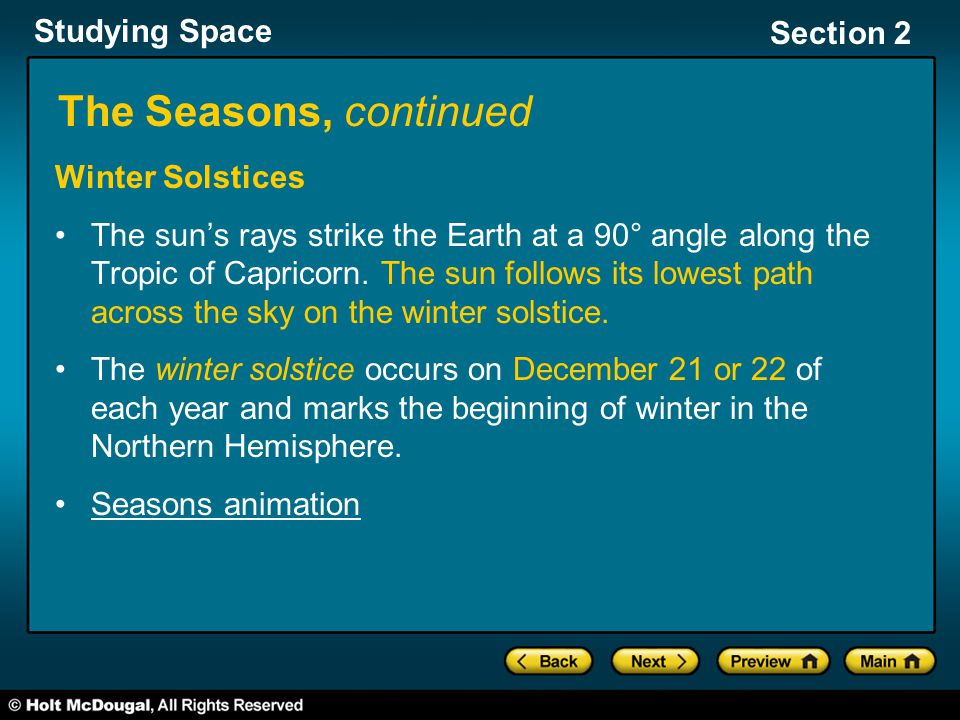 Studying Space Section 2 The Seasons, continued Winter Solstices The sun's rays strike the Earth at a 90° angle along the Tropic of Capricorn. The sun