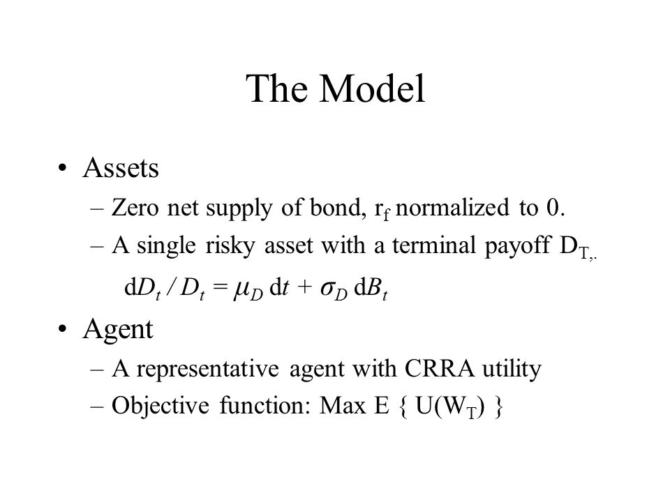 The Model Assets –Zero net supply of bond, r f normalized to 0. –A single risky asset with a terminal payoff D T,. dD t / D t = μ D dt + σ D dB t Agen