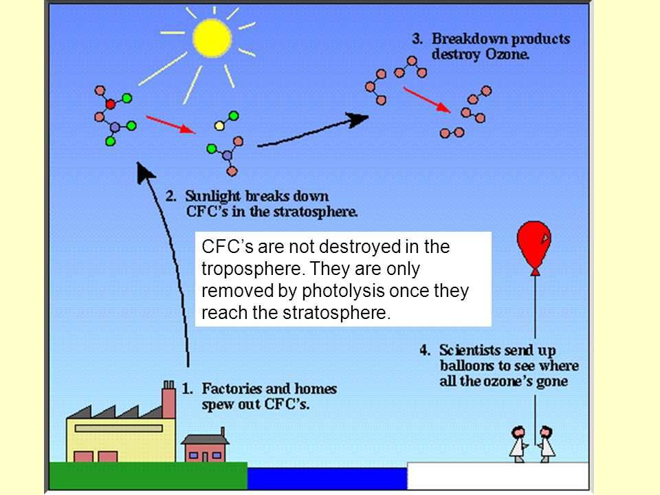 CFC's are not destroyed in the troposphere.
