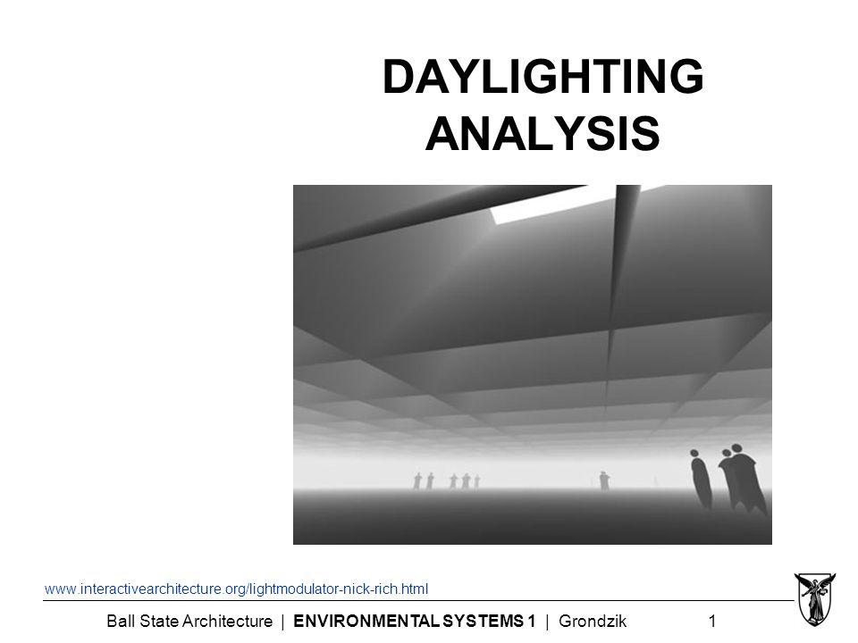 Ball State Architecture | ENVIRONMENTAL SYSTEMS 1 | Grondzik 1 DAYLIGHTING ANALYSIS www.interactivearchitecture.org/lightmodulator-nick-rich.html