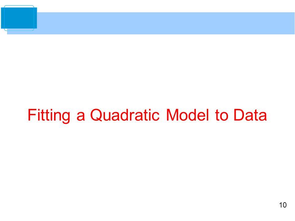 10 Fitting a Quadratic Model to Data