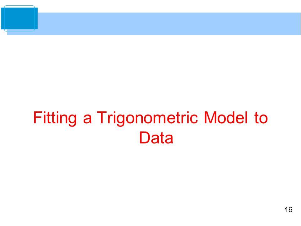 16 Fitting a Trigonometric Model to Data