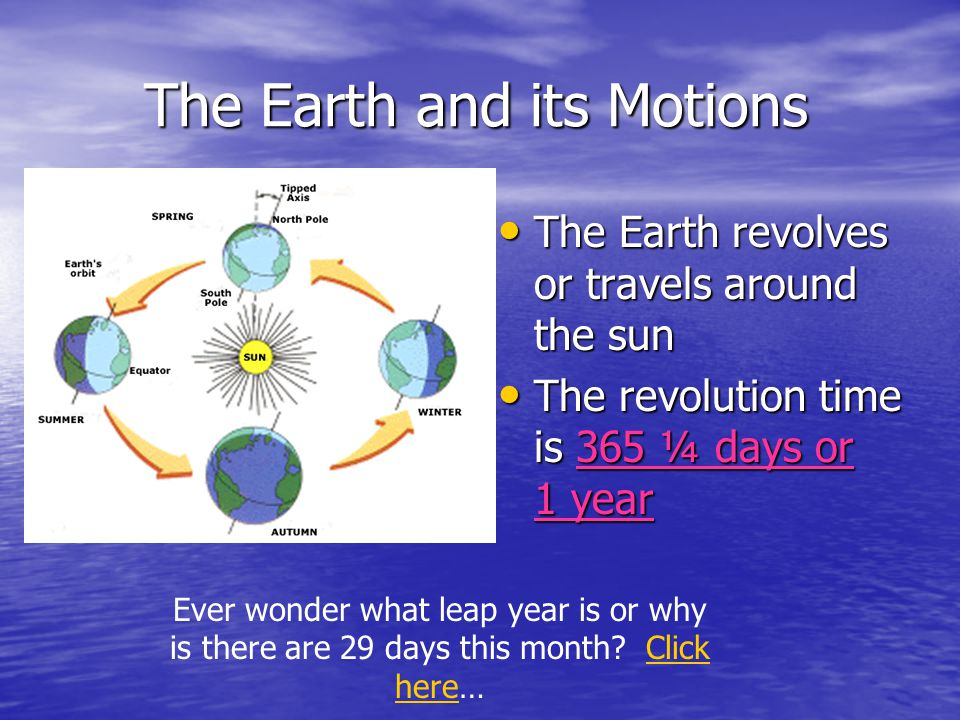 The Earth and its Motions The Earth does not stand straight up on its axis The Earth does not stand straight up on its axis The Earth is tilted at an angle of 23 ½° on its axis.