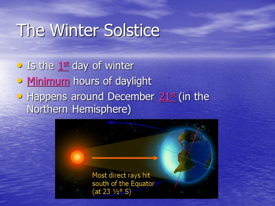 The Summer Solstice Is the 1 st day of summer Is the 1 st day of summer Maximum hours of daylight Maximum hours of daylight Happens around June 21 st (in the Northern Hemisphere) Happens around June 21 st (in the Northern Hemisphere) Most direct rays hit north of the equator (at 23 ½ °N)