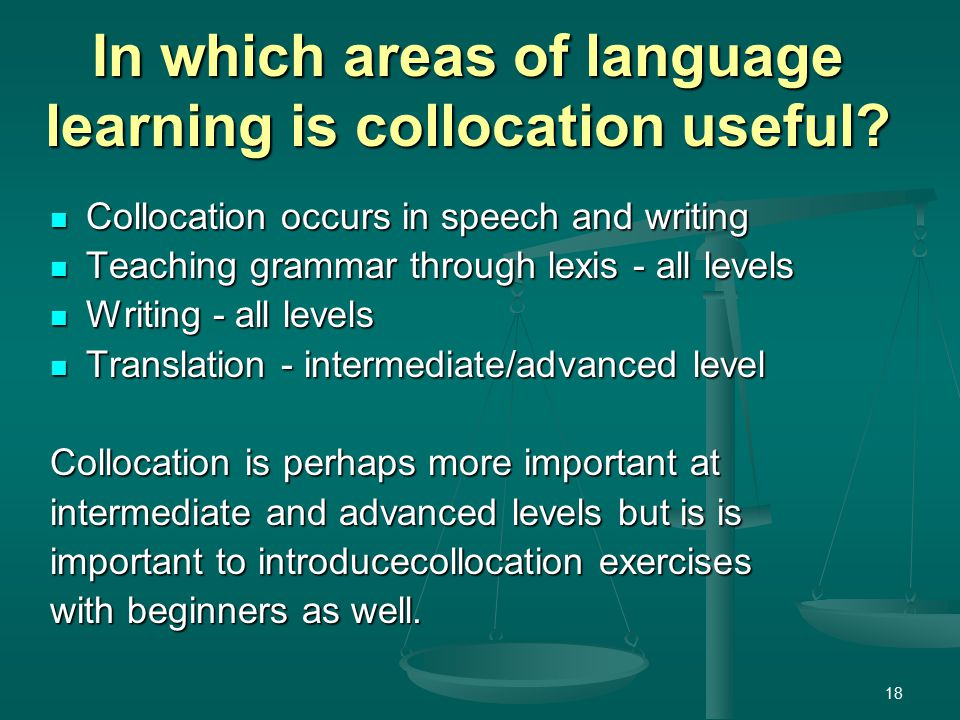 18 In which areas of language learning is collocation useful.