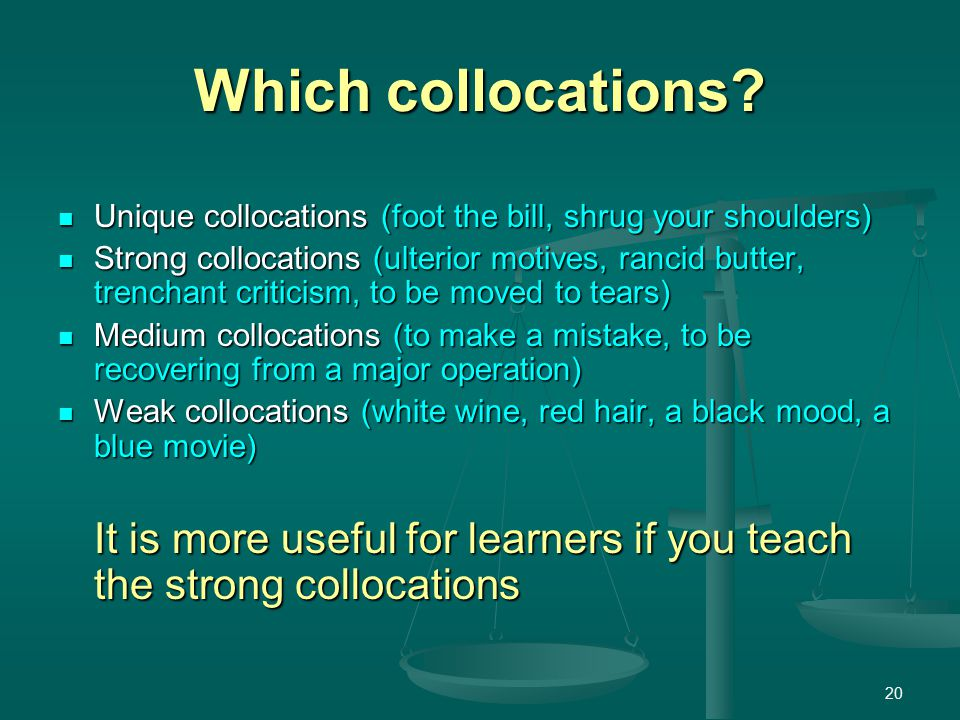 20 Which collocations.