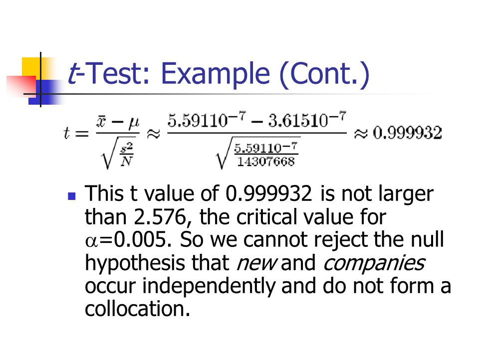 t-Test: Example (Cont.) This t value of 0.999932 is not larger than 2.576, the critical value for a =0.005.
