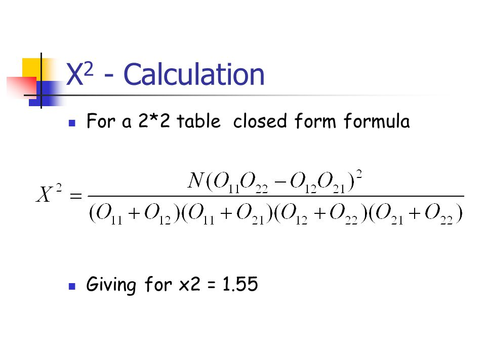 X 2 - Calculation For a 2*2 table closed form formula Giving for x2 = 1.55