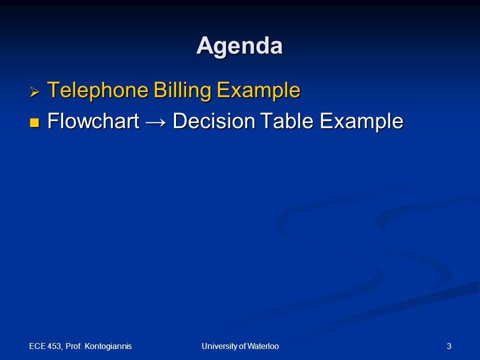 ECE 453, Prof. Kontogiannis 3University of Waterloo Agenda  Telephone Billing Example Flowchart → Decision Table Example Flowchart → Decision Table E
