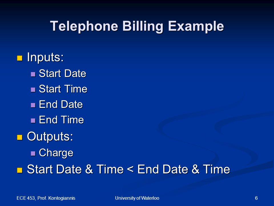ECE 453, Prof. Kontogiannis 6University of Waterloo Telephone Billing Example Inputs: Inputs: Start Date Start Date Start Time Start Time End Date End