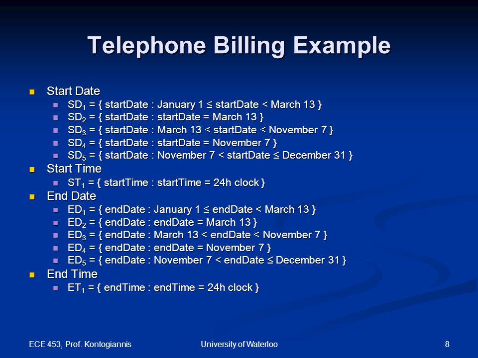 ECE 453, Prof. Kontogiannis 8University of Waterloo Telephone Billing Example Start Date Start Date SD 1 = { startDate : January 1 ≤ startDate < March