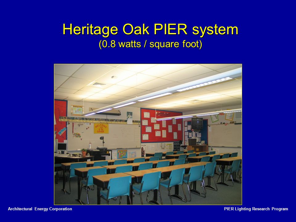 PIER Lighting Research ProgramArchitectural Energy Corporation Heritage Oak PIER system (0.8 watts / square foot)