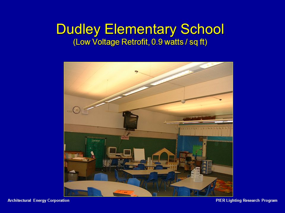 PIER Lighting Research ProgramArchitectural Energy Corporation Dudley Elementary School (Low Voltage Retrofit, 0.9 watts / sq ft)
