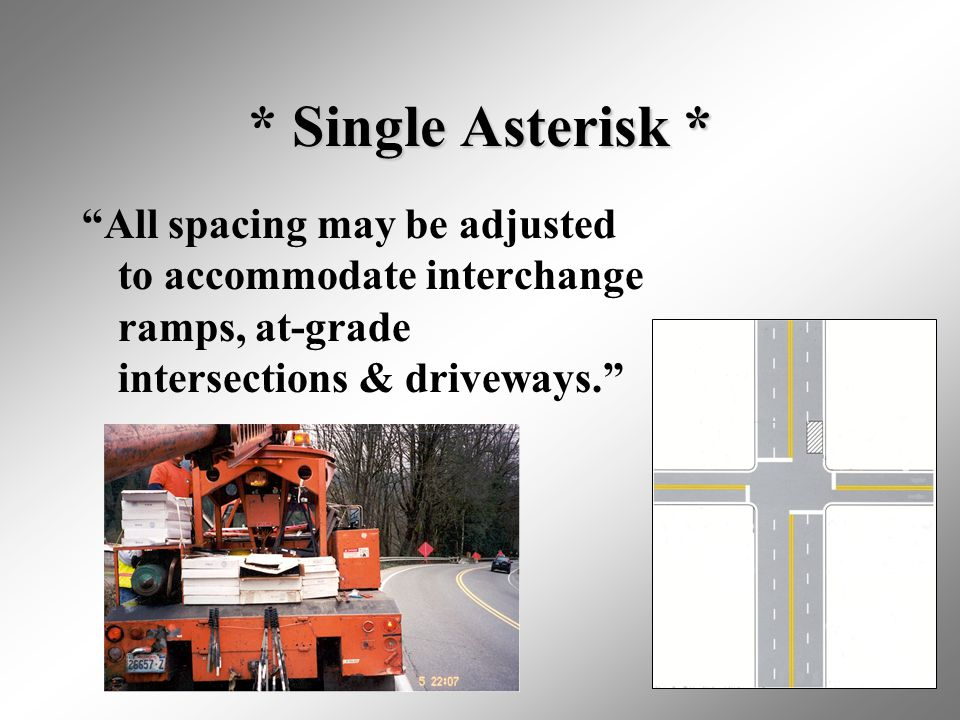 """22 * Single Asterisk * """"All spacing may be adjusted to accommodate interchange ramps, at-grade intersections & driveways."""""""