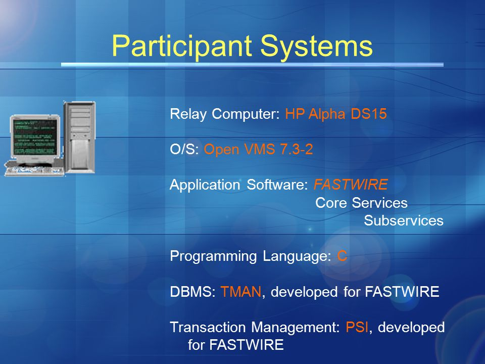 Participant Systems Relay Computer: HP Alpha DS15 O/S: Open VMS 7.3-2 Application Software: FASTWIRE Core Services Subservices Programming Language: C DBMS: TMAN, developed for FASTWIRE Transaction Management: PSI, developed for FASTWIRE