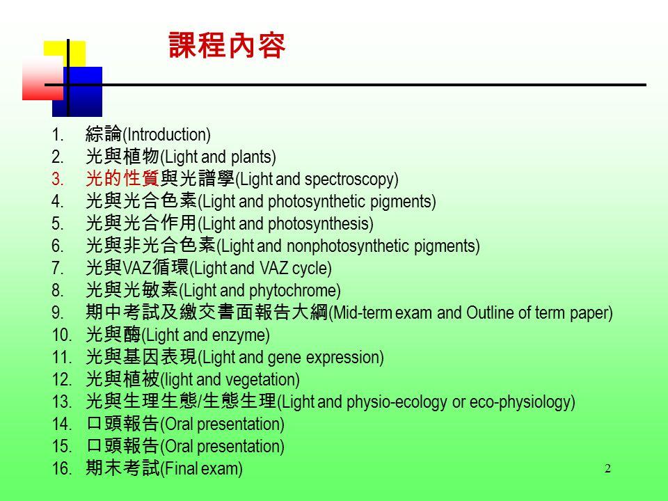 2 1. 綜論 (Introduction) 2. 光與植物 (Light and plants) 3.