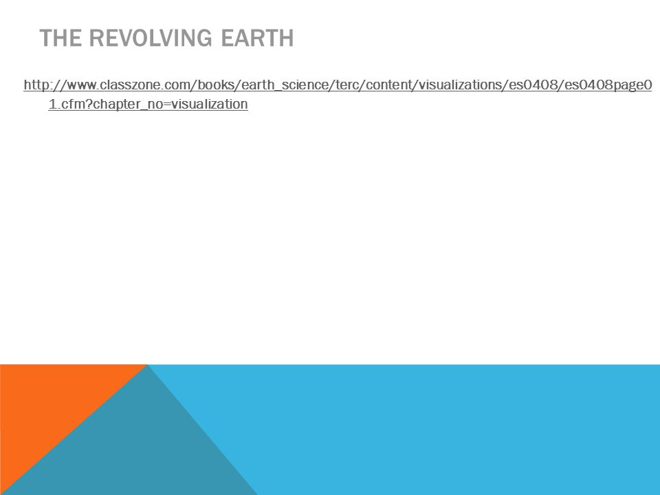 THE REVOLVING EARTH http://www.classzone.com/books/earth_science/terc/content/visualizations/es0408/es0408page0 1.cfm chapter_no=visualization