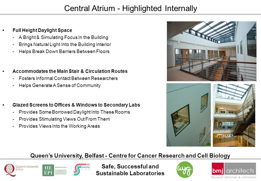 Safe, Successful and Sustainable Laboratories Queen's University, Belfast - Centre for Cancer Research and Cell Biology Central Atrium - Highlighted I