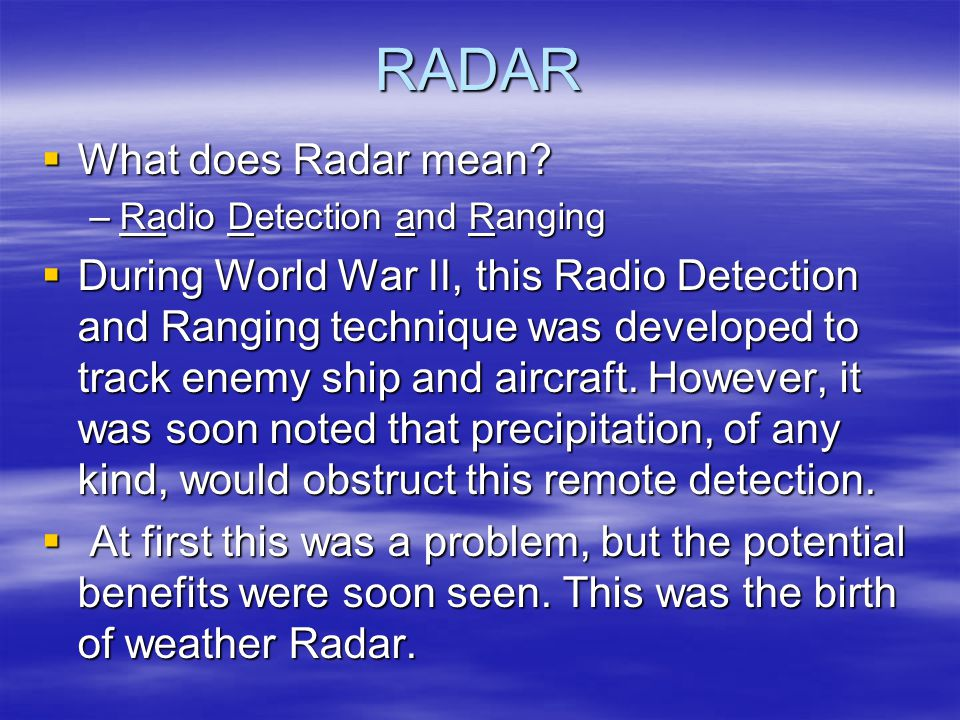 RADAR  What does Radar mean.