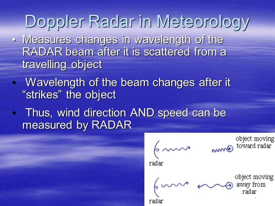 Doppler Radar in Meteorology Measures changes in wavelength of the RADAR beam after it is scattered from a travelling object Measures changes in wavelength of the RADAR beam after it is scattered from a travelling object Wavelength of the beam changes after it strikes the object Wavelength of the beam changes after it strikes the object Thus, wind direction AND speed can be measured by RADAR Thus, wind direction AND speed can be measured by RADAR