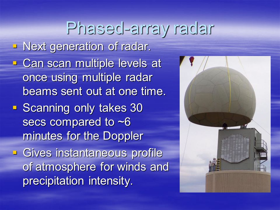 Phased-array radar  Next generation of radar.