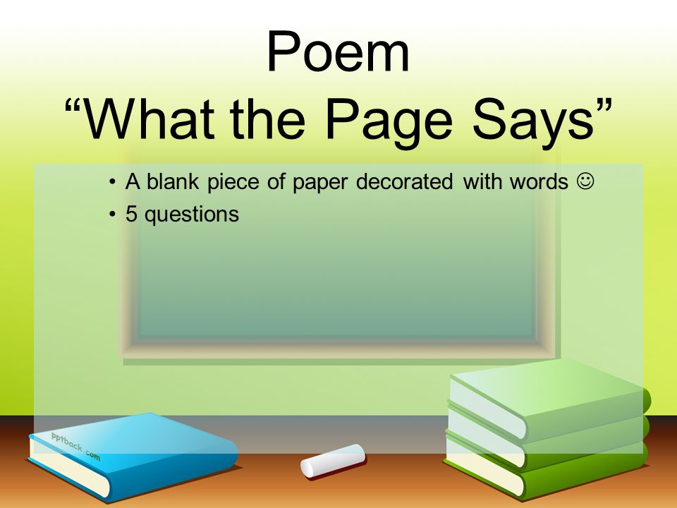 Poem What the Page Says A blank piece of paper decorated with words 5 questions