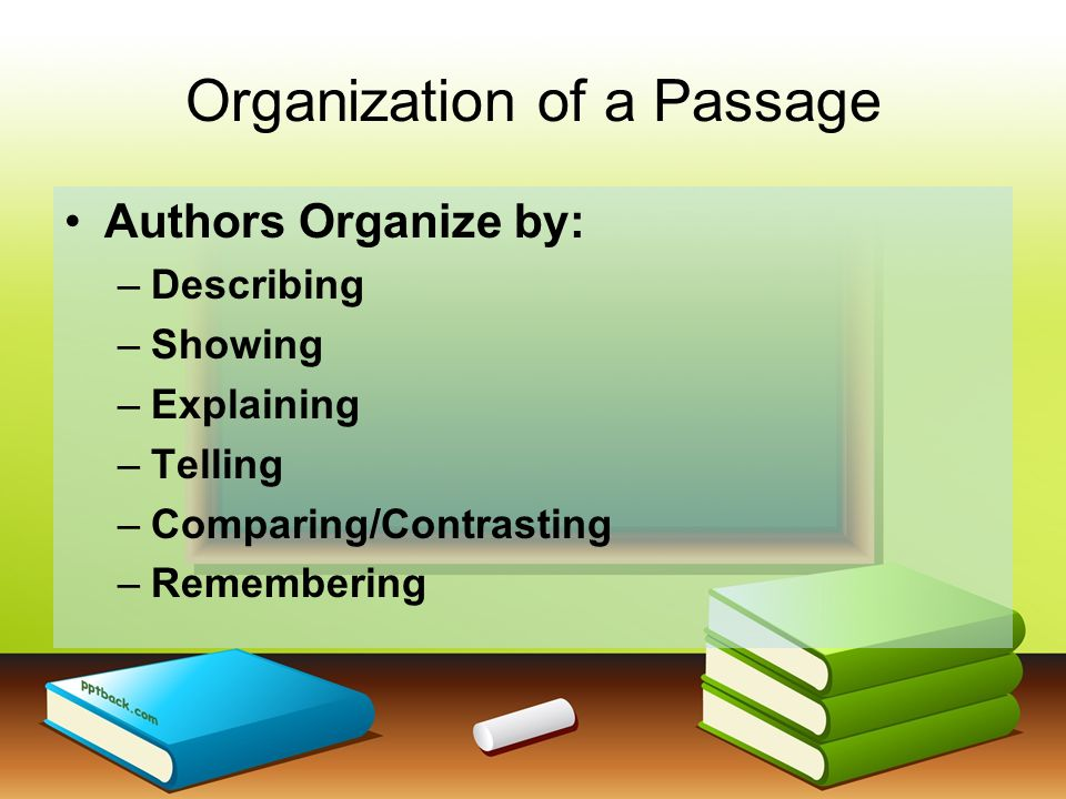 Organization of a Passage Authors Organize by: –Describing –Showing –Explaining –Telling –Comparing/Contrasting –Remembering