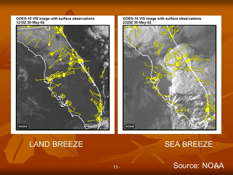 13 -23 LAND BREEZE SEA BREEZE Source: NOAA