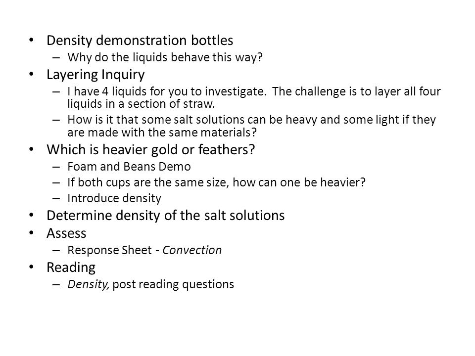 Density demonstration bottles – Why do the liquids behave this way.