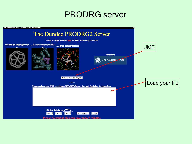 PRODRG server JME Load your file
