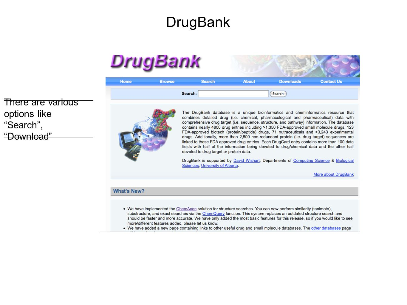 DrugBank Search can be performed using different tools.