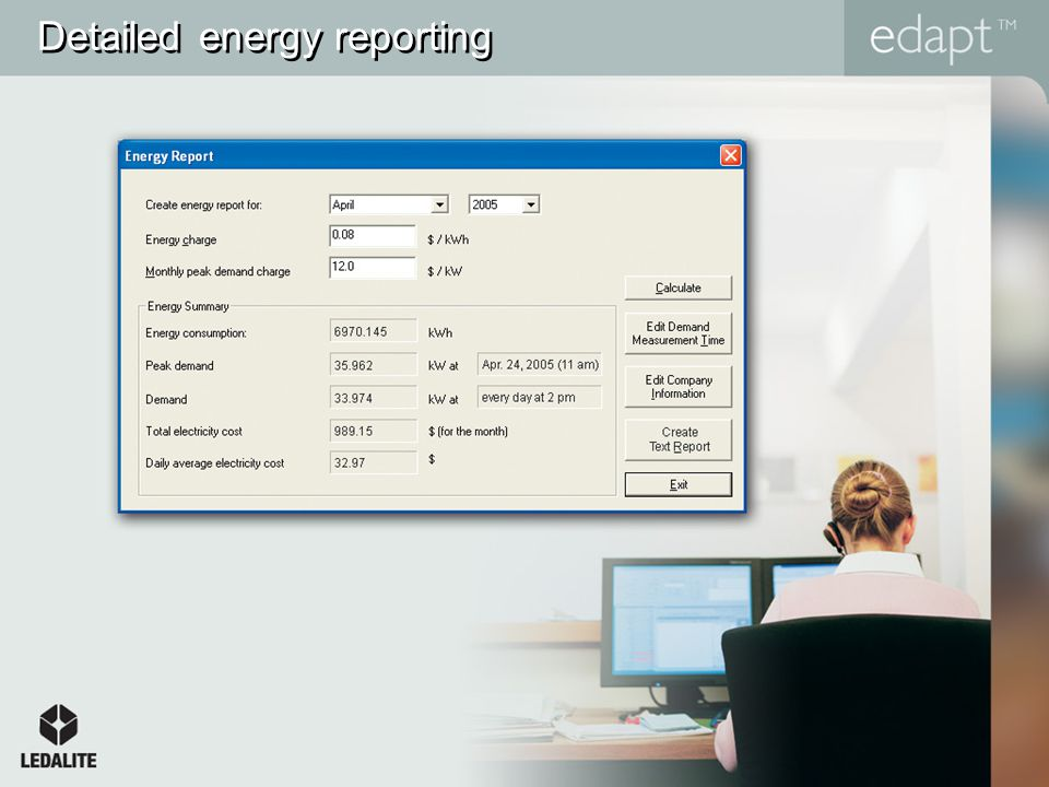 Detailed energy reporting