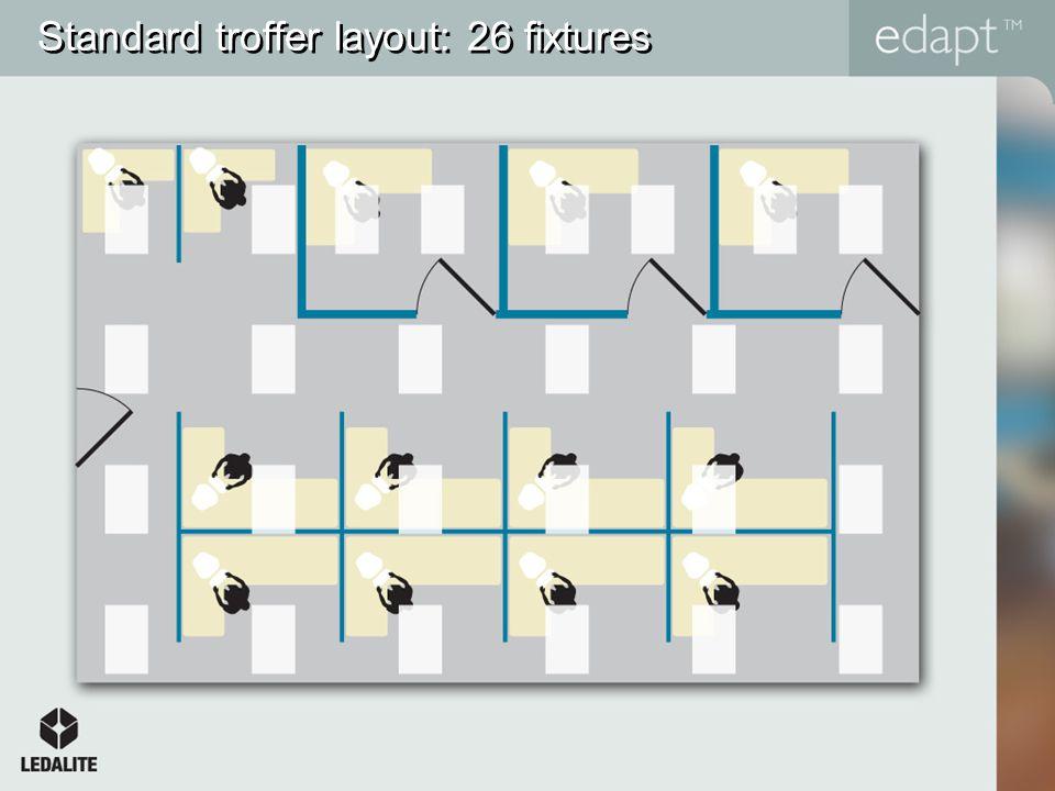 Standard troffer layout: 26 fixtures