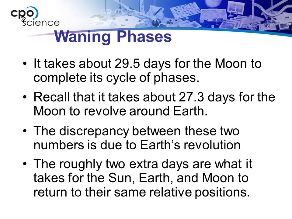 Waning Phases It takes about 29.5 days for the Moon to complete its cycle of phases. 2 2 Recall that it takes about 27.3 days for the Moon to revolve