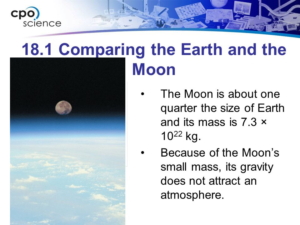 18.1 The moon Earth's single rocky moon is about one- quarter the diameter of Earth.