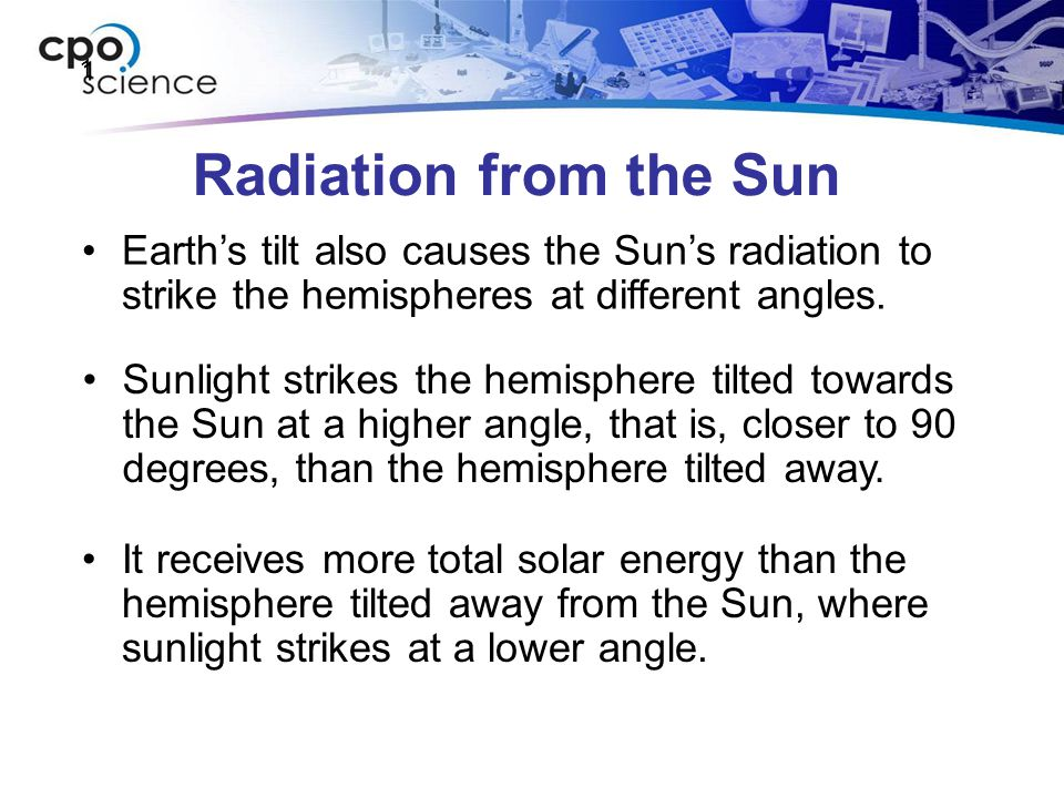 Radiation from the Sun 1 1 Earth's tilt also causes the Sun's radiation to strike the hemispheres at different angles. Sunlight strikes the hemisphere