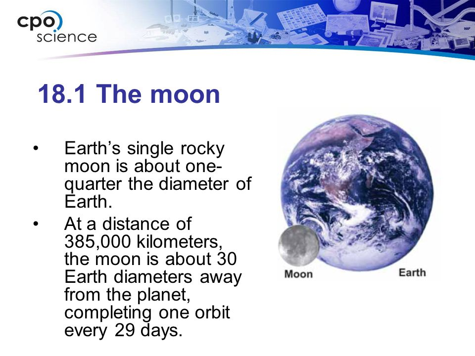 18.1 The Moon's orbit The same side of the moon faces Earth at all times.