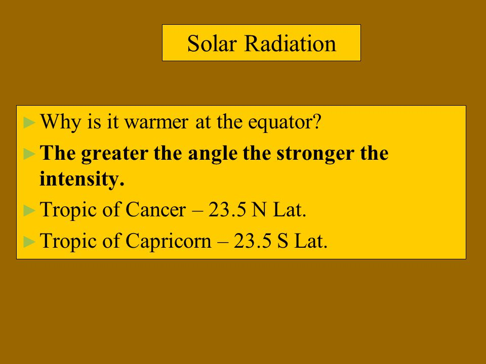 Solar Radiation ► Why is it warmer at the equator? ► The greater the angle the stronger the intensity. ► Tropic of Cancer – 23.5 N Lat. ► Tropic of Ca