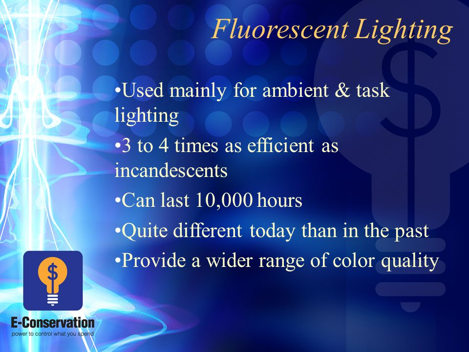 Fluorescent Lighting Used mainly for ambient & task lighting 3 to 4 times as efficient as incandescents Can last 10,000 hours Quite different today than in the past Provide a wider range of color quality