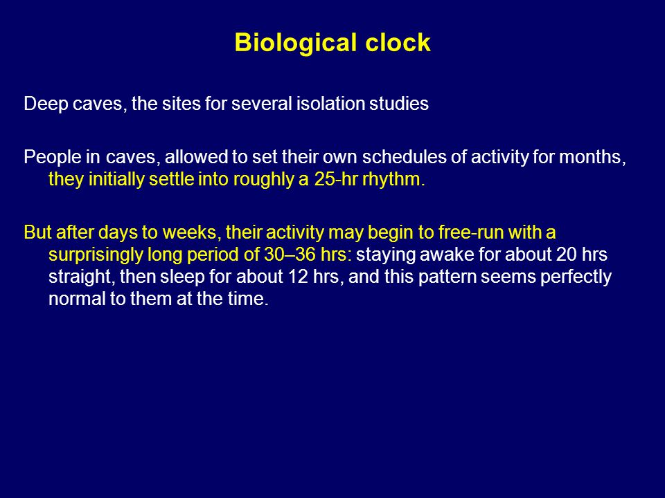 Biological clock In isolation experiments, behavior and physiology do not always continue to cycle together: the rhythms of temperature and sleeping-waking, which are normally synchronized to a 24-hr period, become desynchronized.