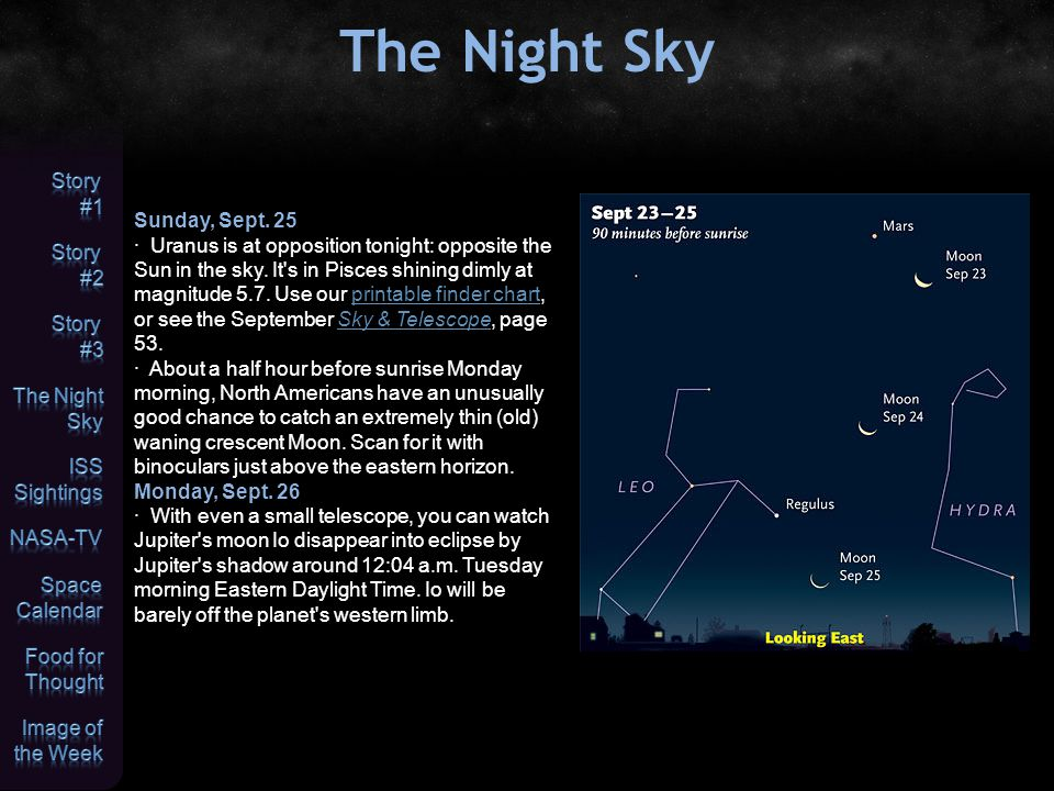 The Night Sky Sunday, Sept. 25 · Uranus is at opposition tonight: opposite the Sun in the sky.