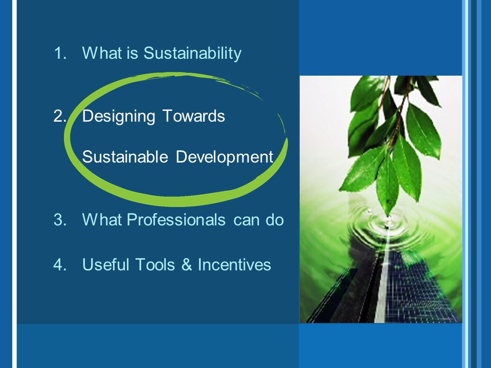 1.What is Sustainability 2.Designing Towards Sustainable Development 3.What Professionals can do 4.Useful Tools & Incentives