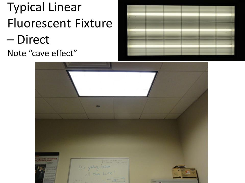 """Typical Linear Fluorescent Fixture – Direct Note """"cave effect"""""""
