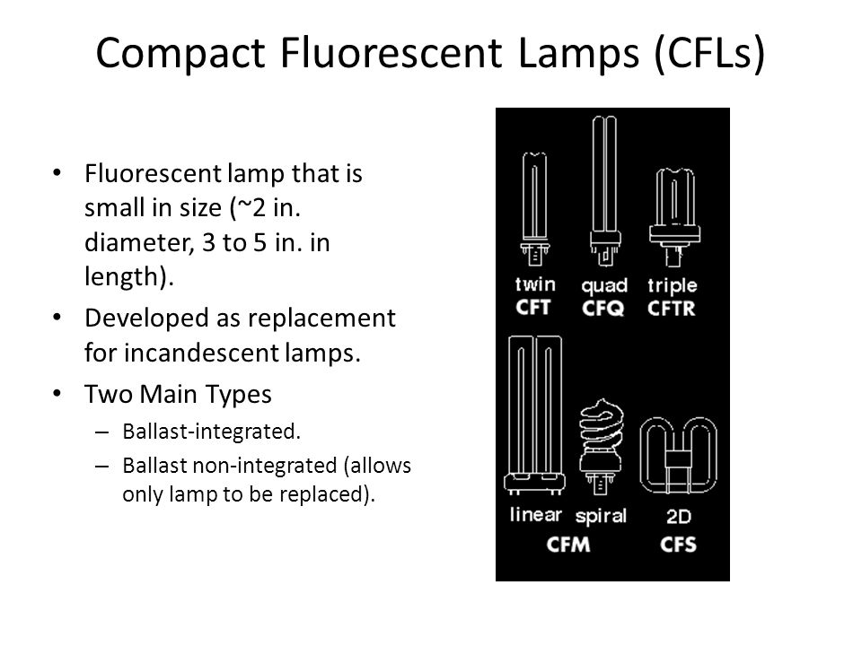 Compact Fluorescent Lamps (CFLs) Fluorescent lamp that is small in size (~2 in. diameter, 3 to 5 in. in length). Developed as replacement for incandes