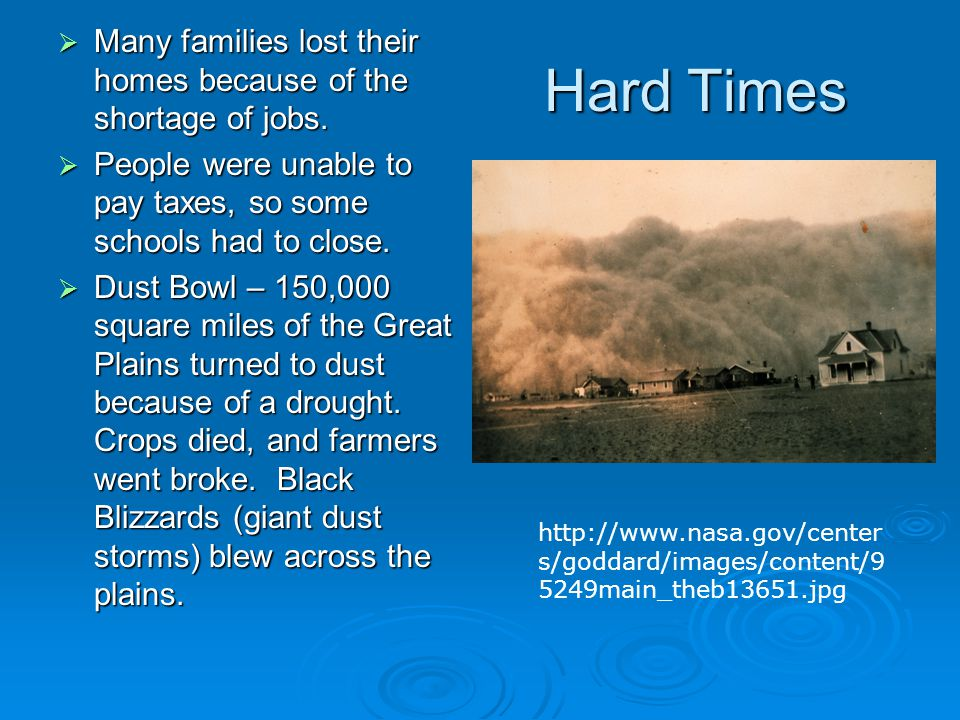 Hard Times  Many families lost their homes because of the shortage of jobs.