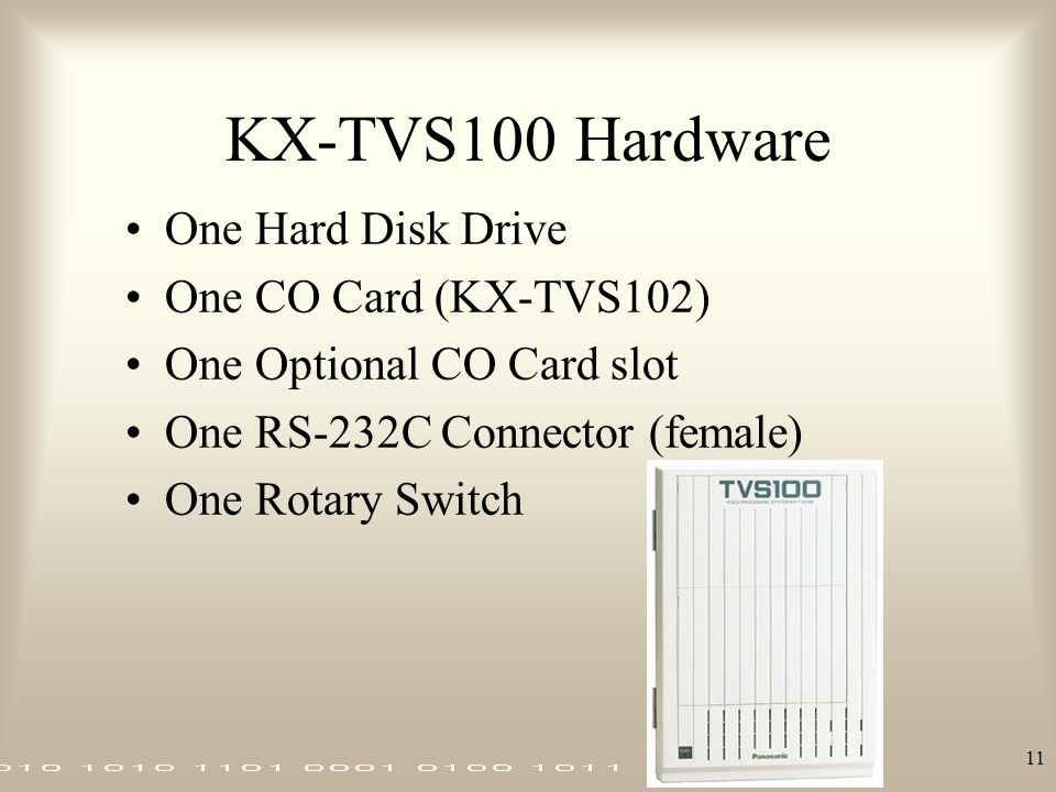 11 KX-TVS100 Hardware One Hard Disk Drive One CO Card (KX-TVS102) One Optional CO Card slot One RS-232C Connector (female) One Rotary Switch