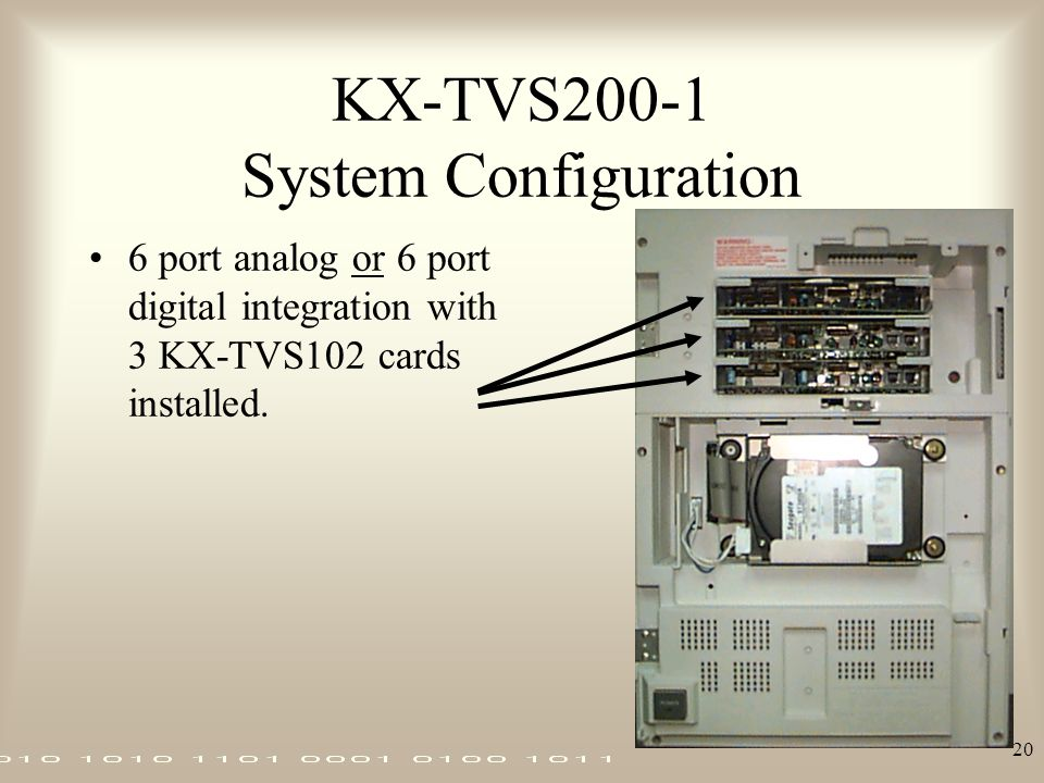 20 KX-TVS200-1 System Configuration 6 port analog or 6 port digital integration with 3 KX-TVS102 cards installed.