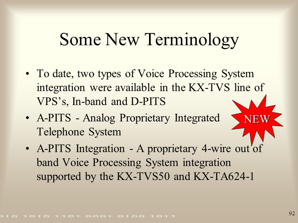 92 Some New Terminology To date, two types of Voice Processing System integration were available in the KX-TVS line of VPS's, In-band and D-PITS A-PIT
