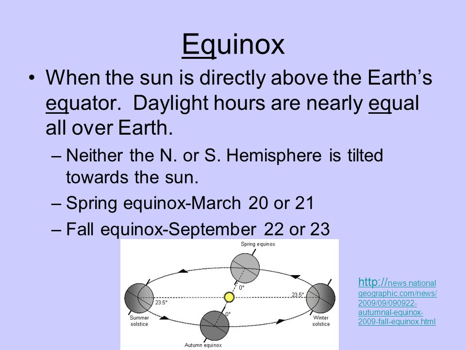 Equinox When the sun is directly above the Earth's equator.